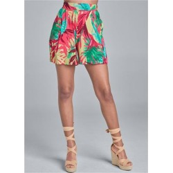 Floral Printed Shorts Shorts - Green/White/Blue/Purple/Black/Orange/Red/Yellow found on Bargain Bro India from Venus.com for $36.00