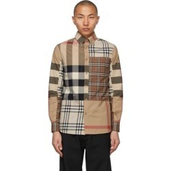 Beige Contrast Check Shirt - Natural - Burberry Shirts found on Bargain Bro from lyst.com for USD $349.60