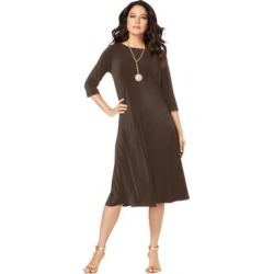 Plus Size Women's Ultrasmooth Fabric Boatneck Swing Dress by Roaman's in Chocolate (Size 38/40) found on Bargain Bro Philippines from fullbeauty for $29.99