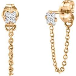 Diamond Huggie Chain Drop Stud Earrings - Metallic - Lizzie Mandler Earrings found on Bargain Bro from lyst.com for USD $437.00