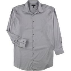 Alfani Mens Bedford Cord Button Up Dress Shirt (Gray - 18.5