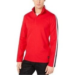 Calvin Klein Mens 1/4 Ribbed Pullover Sweater (Red - Small), Men's(cotton) found on Bargain Bro Philippines from Overstock for $52.77