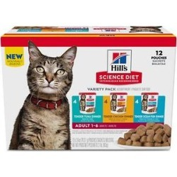 Hill's Science Diet Adult Tender Dinner Variety Pack Cat Food, 2.8-oz pouch, case of 12 found on Bargain Bro Philippines from Chewy.com for $17.49