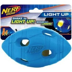 Nerf Dog Light Up LED Bash Football Dog Toy, Blue
