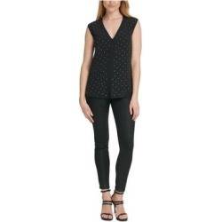 DKNY Womens Black Beaded Sleeveless V Neck Top Size L (Black - L), Women's(knit, Solid) found on Bargain Bro India from Overstock for $16.98