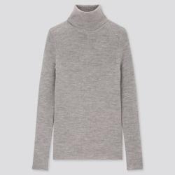UNIQLO Women's Extra Fine Merino Ribbed Turtleneck Sweater, Gray, XL found on Bargain Bro Philippines from Uniqlo for $39.90