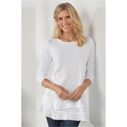 Women Colette T-Shirt by Soft Surroundings, in White size 1X (18-20)