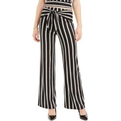 BCX Juniors' Striped Tie-Front Pants Pat I Size Extra Small
