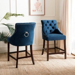 Safavieh 26- Inch Eleni Navy/ Espresso Tufted Counter Stool (Set of 2) - 22.5
