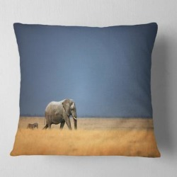 Designart 'Elephant and Zebra Walking in Bush' African Throw Pillow found on Bargain Bro from Overstock for USD $25.19