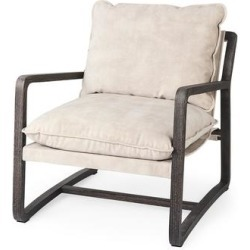 Brayden 28.3L x 34.1W x 35H Dark Brown Wood W/ Cream Fabric Seat Accent Chair - Mercana 69356 found on Bargain Bro Philippines from totally furniture for $830.99