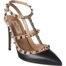 Valentino Rockstud Caged 100 Leather Ankle Strap Pump (38.5), Women's, Black found on Bargain Bro Philippines from Overstock for $901.99
