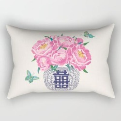 "Peony Bouquet In Ginger Jar/cream Rectangular Pillow by Vivdesign - Small (17"" x 12"")"
