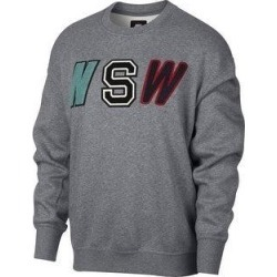 Nike Mens Varsity Fleece Sweatshirt, Grey, Medium (Medium), Men's, Gray found on Bargain Bro from Overstock for USD $34.97