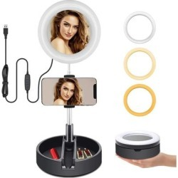 6.3-inch LED Ring Light w/ In-Line Brightness Control, Collapsing Stand & Phone Holder Included, USB Powered found on Bargain Bro Philippines from Overstock for $39.93