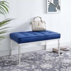Loft Tufted Button Medium Upholstered Faux Leather Bench (Blue), Modway found on Bargain Bro from Overstock for USD $256.11