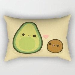 Rectangular Pillow | Cute Avocado And Stone by Peppermintpopuk - Small (17
