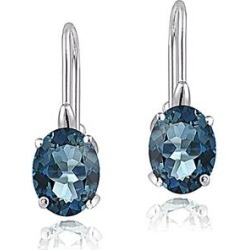 Enduring Jewels Women's Earrings - London Blue Topaz & Sterling Silver Oval Huggie Earrings found on Bargain Bro India from zulily.com for $39.99