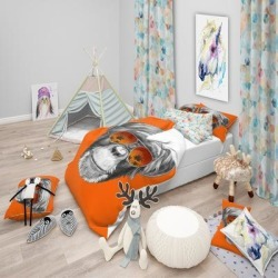 Designart 'Monkey with Mirror Sunglasses' Tropical Bedding Set - Duvet Cover & Shams (2 Piece - Twin Cover + 1 sham (comforter not included)), Gray, found on Bargain Bro India from Overstock for $94.39