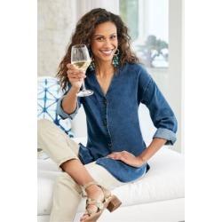 Women's Wendy Shirt by Soft Surroundings, in Denim Blue size XS (2-4)