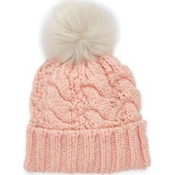 UGG Cable Knit Beanie With Faux Fur Pom - Pink - Ugg Hats found on Bargain Bro from lyst.com for USD $41.80