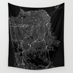 San Francisco Black Map Wall Hanging Tapestry by Multiplicity - 51
