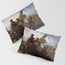 Pillow Sham | George Washington Crossing Of The Delaware River Painting by Vintage Restored Art - STANDARD SET OF 2 - Cotton - Society6 found on Bargain Bro from Society6 for USD $30.39