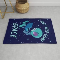 I Just Need Some Space Alien With Laptop Modern Throw Rug by John Schwegel - 2' x 3' found on Bargain Bro India from Society6 for $34.30