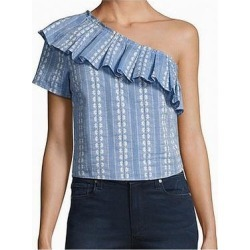 Splendid Blue Womens Size Small S Ruffle One Shoulder Floral Blouse (S), Women's(cotton) found on Bargain Bro from Overstock for USD $54.70