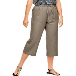Plus Size Women's Linen Blend Drawstring Capris by ellos in Bark (Size 28) found on Bargain Bro Philippines from Ellos for $30.90