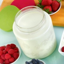 64 Oz Glass Jar with lid for Euro Cuisine YM260 - YM360 - YM460 Yogurt and Greek Yogurt Maker by Euro Cuisine in Clear found on Bargain Bro Philippines from Brylane Home for $15.99