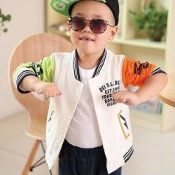 Boy Coat Matching Color Fashion Letter Printing Long Sleeves Round Collar Baseball Coat Leisure Wmb0208 (Orange - 110 cm), Boy's(cotton) found on MODAPINS from Overstock for USD $34.12
