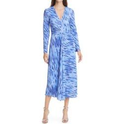 Sierra Textured Long Sleeve Dress - Blue - ROTATE BIRGER CHRISTENSEN Dresses found on Bargain Bro India from lyst.com for $70.00