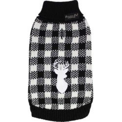 Parisian Pet Pet Sweaters Black/White - Black & White Buffalo Plaid Deer Pet Sweater found on Bargain Bro from zulily.com for USD $21.88