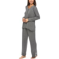 Lamaze Maternity Intimates Women's Sleep Bottoms Graphite - Graphite Heather Lace-Accent Maternity/Nursing Pajama Set found on Bargain Bro India from zulily.com for $21.99