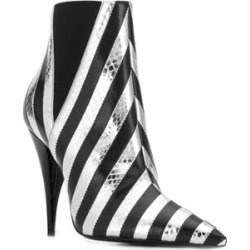 Saint Laurent Women's Leather Kiki 85 Snakeskin Effect Striped Boots Black (Black - 8.5) found on Bargain Bro from Overstock for USD $570.00