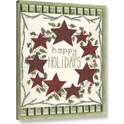 The Holiday Aisle® 'Happy Holidays Wreath' - Graphic Art Print Canvas & Fabric in Brown/Green/Red, Size 18.0 H x 14.0 W x 2.0 D in   Wayfair found on Bargain Bro Philippines from Wayfair for $48.99