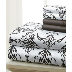 Spirit Linen Home Sheet Sets BLACK/White - Black & White Scroll Palazzo Six-Piece Sheet Set found on Bargain Bro Philippines from zulily.com for $17.99