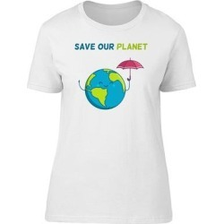 Save Our Planet Cute Happy Earth Tee Women's -Image by Shutterstock (M), White(cotton, Graphic) found on Bargain Bro India from Overstock for $13.29