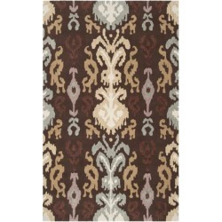 Williston 5' x 8' Transitional 100% Polyester Dark Brown/Wheat/Medium Gray/Tan/Cream/Mauve Area Rug - Hauteloom found on Bargain Bro Philippines from Boutique Rugs for $160.50