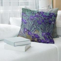 Porch & Den Vincent Van Gogh 'Irises' Throw Pillow (26 x 26 - Purple Petals - Linen), Multicolor found on Bargain Bro from Overstock for USD $67.63