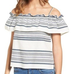 petite Splendid Womens Top Beige Blue XS Knit Cold Shoulder Striped Ruffled, Women's found on Bargain Bro from Overstock for USD $32.13