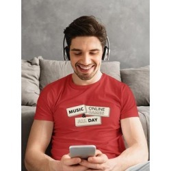 Music And Online Games Men's T-shirt (M), Red found on Bargain Bro from Overstock for USD $11.39