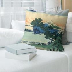 Porch & Den Katsushika Hokusai 'Shichiri Beach in Sagami Province Throw Pillow (16 x 16 - Green, Blue, & Orange - Faux Suede), Green/Blue/& Orange found on Bargain Bro from Overstock for USD $49.01