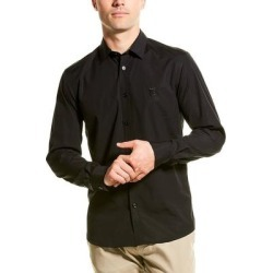 Burberry Monogram Motif Stretch Poplin Slim Fit Woven Shirt (XL), Men's, Black found on MODAPINS from Overstock for USD $336.59