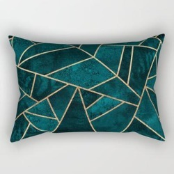 Rectangular Pillow | Deep Teal Stone by Elisabeth Fredriksson - Small (17