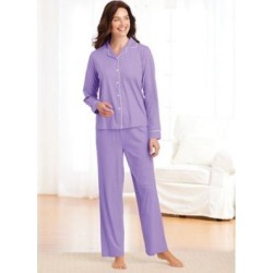 Women's Satin-Trim Pajamas, Light Violet Purple L Misses found on Bargain Bro from Blair.com for USD $22.79