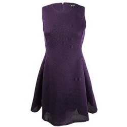 DKNY Women's Mesh Seamed Fit & Flare Dress (12, Aubergine) (Aubergine)(polyester) found on Bargain Bro from Overstock for USD $53.19