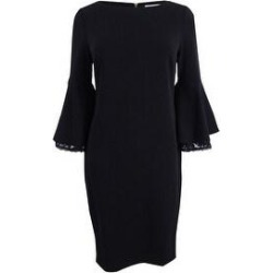 Calvin Klein Women's Petite Lace Trim Bell-Sleeve Sheath Dress (10P, Black) - 10P (Black - 10P) found on Bargain Bro from Overstock for USD $54.71