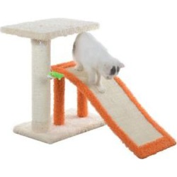 Armarkat Sisal Carpet Ramp & Two-Level Platform Cat Tree, Beige & Orange